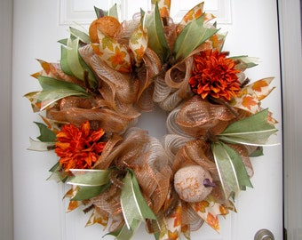 Deluxe XL Burlap Fall Pumpkin Brown Orange rust Autumn Thanksgiving Indoor Outdoor Deco Mesh Wreath!