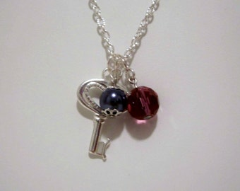 Purple Crystal and Tahitian Blue Pearl Charm Necklace