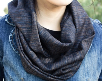 Navy blue infinity scarf (cowl) with gold, bronze, and blue glitter accent)