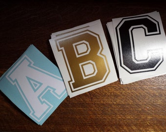 varsity alphabet letter decal sticker - x2 w/transfer tape - personalized