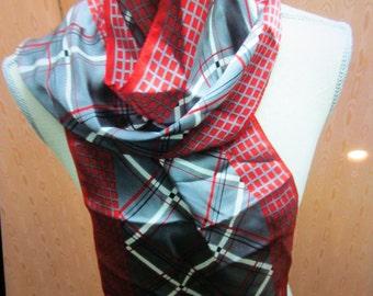 Anne Klein Designer Vintage Scarf - Grey/White/Red