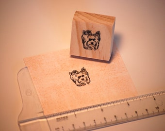 Hand carved rubber stamp - Yorkie design.