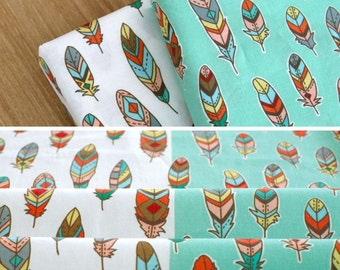 Bohemian Feather Pattern 30s Cotton Fabric - White & Mint Color