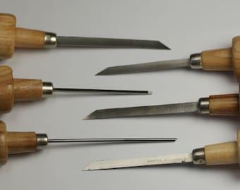 6x new set engraver gravers wooden handles graving jewellers graver assortment