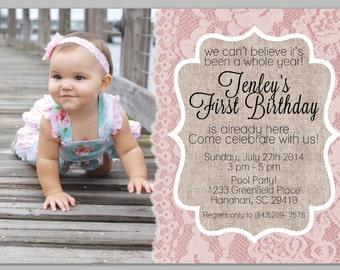 Digital Proof of Girl's First Birthday Invitation - Burlap / Lace Theme