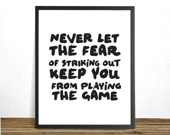 Babe Ruth Baseball Poster, Quote Printable Art, Never let ...