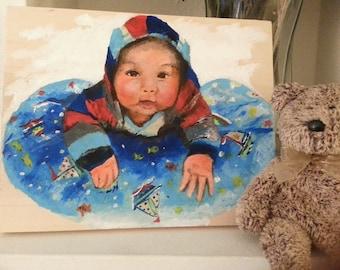 Mixed Media Portrait on wood panel (8x10)