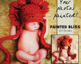 Custom Baby Painting 30x30 - Hand Painted Oil Portrait from your Photo on Canvas