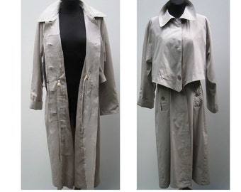 Vintage 80s Trench coat Grey Light Overcoat womens Long raincoat Classic raincoat /  XL Large