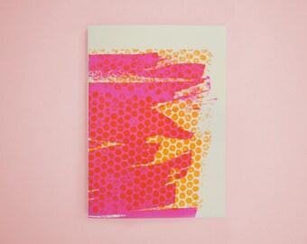 Abstract Letterpress Notebook, Orange Dot