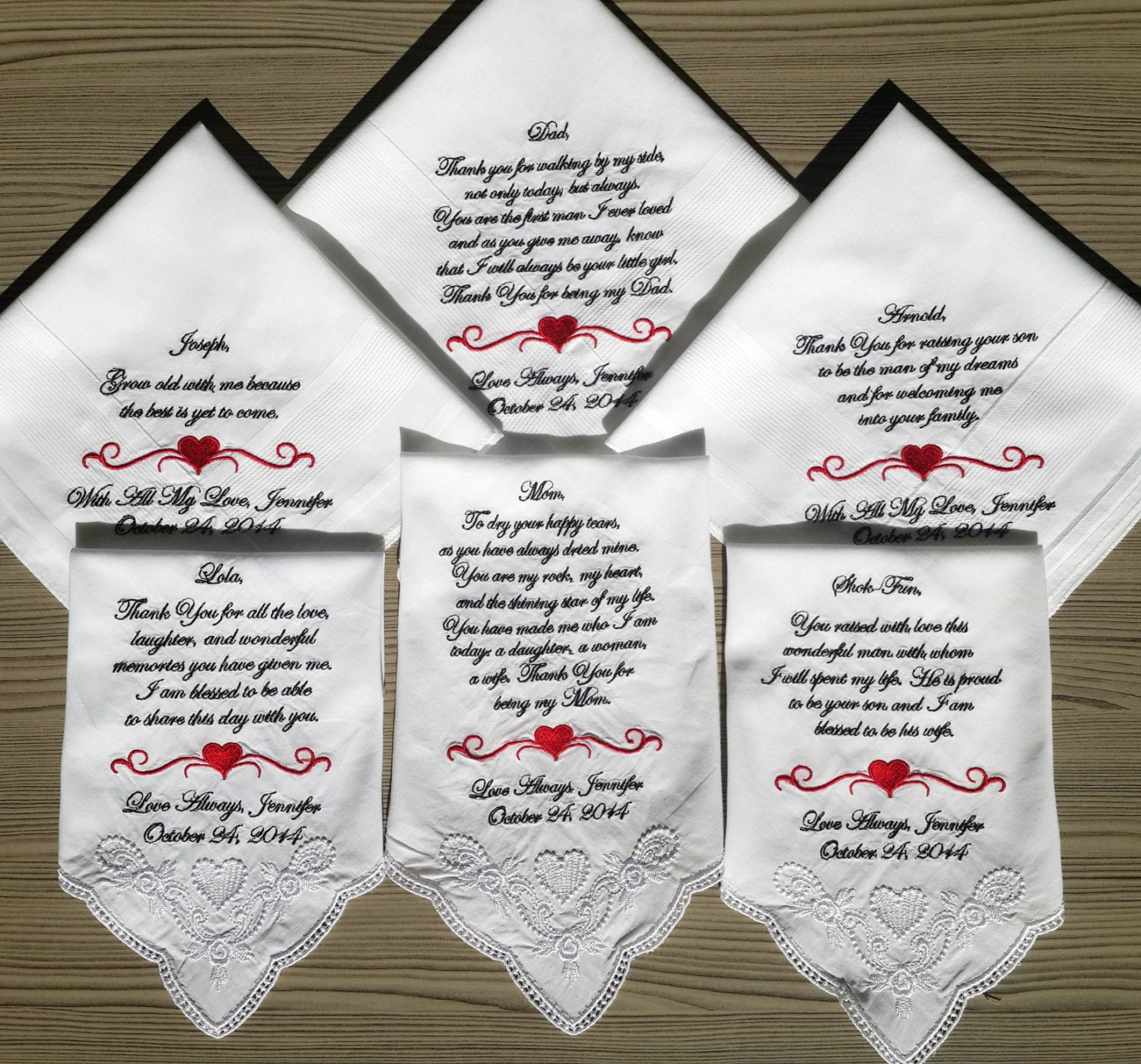 Personalized 6 Wedding Handkerchiefs For Parents Of Bride And