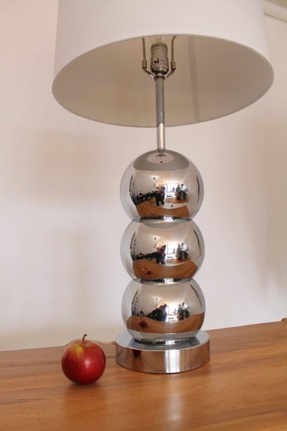 Chrome Eyeball Table Lamp Vintage Mid Century Retro 70s 80s