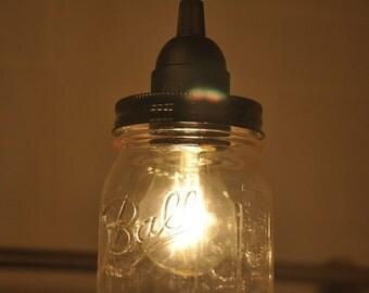 Mason Jar Industrial Pendant Light Lamp Black Vintage Rustic Canopy