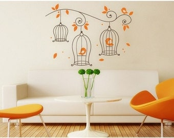 Bird Cage wall decal, sticker, mural, vinyl wall art
