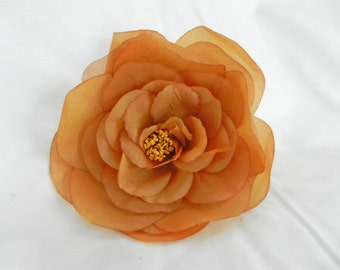 Large Butterscotch Tobacco Soft Organza Flower with Pin Back perfect for Bridal Purses and Hats MI01109