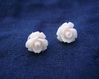 Small Pale Cream Rose Stud Earrings