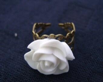Adjustable White Rose Ring