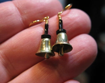 Handbell Earrings with vintage brass bells and clappers and black handles - very stylish!