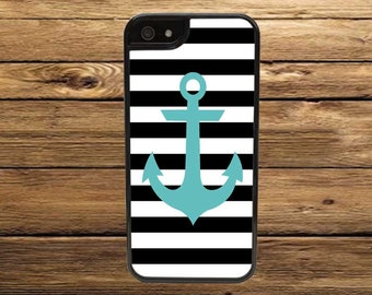 Cell Phone Case, Anchor and Stripes - iPhone 6/6s, 6/6s Plus, 5/5s, 5C, 4/4s - iPod 6, 5, 4 - Samsung Galaxy S6 S5 S4 S3