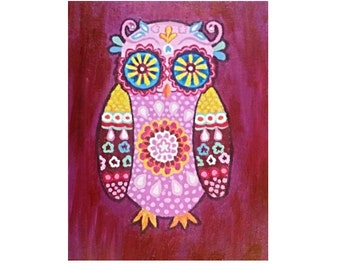 Abstract Colorful Owl