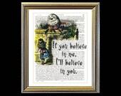 Alice in Wonderland HUMPTY DUMPTY If You Believe In Me. Art on vintage encyclopedia page