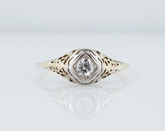 Antique Late Art Deco .28 Old European Cut Diamond Filigree Engagement Ring in 14K Yellow and White Gold