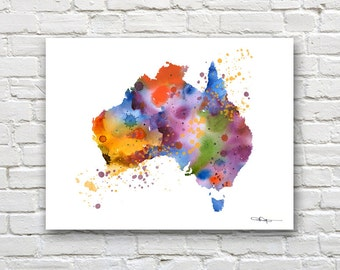 Australia Map - Abstract Watercolor Art Print - Wall Decor