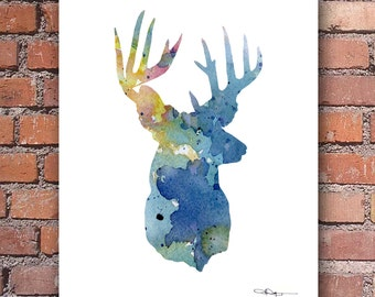 Deer Art Print - Abstract Buck Watercolor Painting - Wall Decor