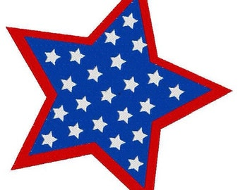 Red, white and blue star machine embroidery design - perfect for patriotic holiday, 4th of July, Memorial Day, Labor Day, Independence Day