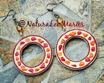 Red and Orange Round Hoop Bead Earrings