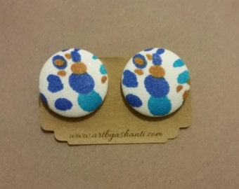 Button earrings, blue earrings, fabric earrings, stud earrings, handmade earrings, handmade jewelry, statement earrings