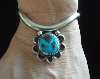 Native American Style Sterling Silver Cuff Bracelet  Turquoise signed MLS (Horse) 21.34 grams
