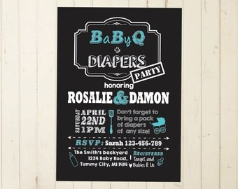 Baby Shower BBQ couples shower diaper bbq diaper baby q  baby shower invite bbq invitation coed baby shower diaper shower diaper invite 129
