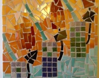 Tulip and Lattice Mosaic Charles Rennie Mackintosh Inspired Wall Art