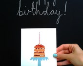 Birthday Card, Cake Card, Birthday Cake Card, Greetings Card, Papercut Card