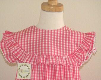Monogram Baby dress, infant monogram dress, Summer Girls Dress, Baby Monogram  check dress, Monogrammed Baby Dress FREE Personalization 3m