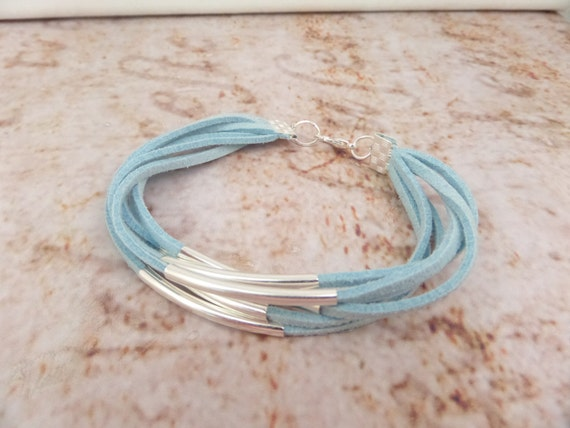 Wrap style bracelet in duck egg blue, lilac or mint faux suede with silver tubes, Duck egg blue bracelet, Lilac bracelet, Mint bracelet