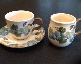 Vintage Metlox Poppytrail Cup, Saucer and Mug <> Sculptured Grape Pattern <> RARE MUG <> Embossed Grape Pattern <> 1960's