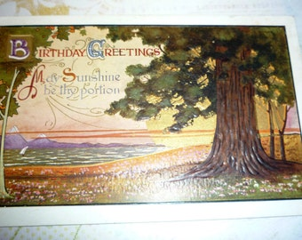 Antique Birthday Postcard With Large Tree, Water. Mountains
