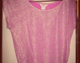 Vintage Candie's lavander sparkling blouse sz xs/sm