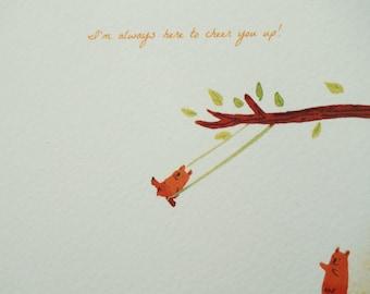 Thinking of you bear card / sympathy bear card/ Cheer you up bear card