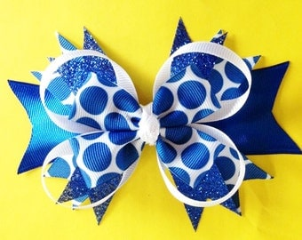 Blue and White Polka Dot Stacked Boutique Hair Bow