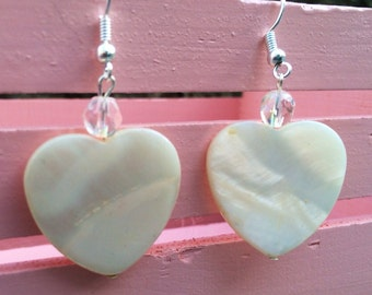 Valentine's Day Large White Mother-of-Pearl Heart Shaped Dangle Earrings FREE US SHIPPING