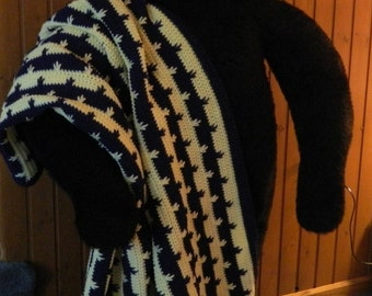 Crochet Blanket - 4' x 6' - Blue and Yellow Afghan - Drop Stitch