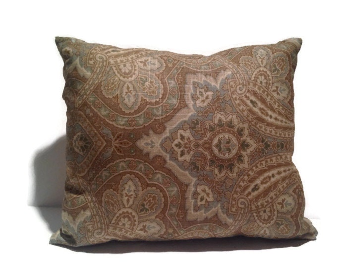 blue green and brown paisley throw pillow by thrillows on etsy. Black Bedroom Furniture Sets. Home Design Ideas