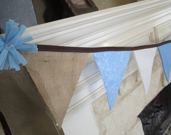 Burlap and fabric banner Bunting brown blue and white - birthday, wedding, shower