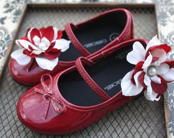Dark Red and Cream Flower Shoe Clips-Toddler Flower Shoe Clips-Women/Bridal Flower Shoe Clips-Red-Cream/Pearl