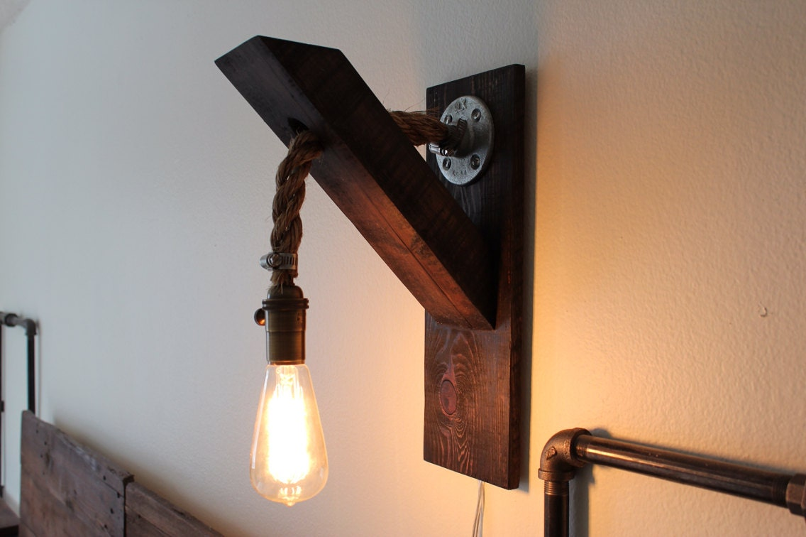 Industrial Lighting Wood Rope Sconce By RuggedNorthCo On Etsy