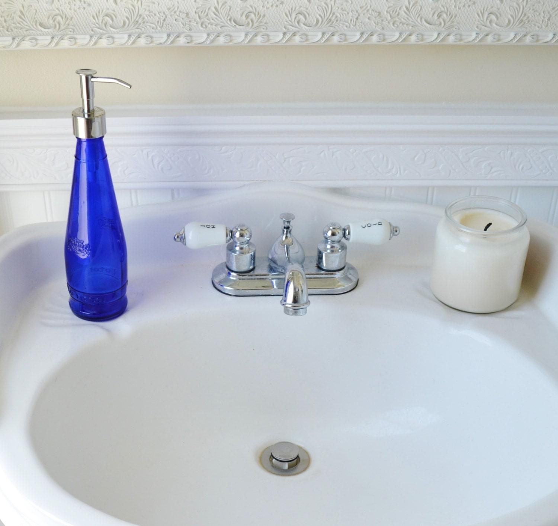 Recyled Glass Blue Soap Dispenser For Bathroom Kitchen Cobalt