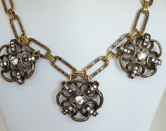 Gold necklace, Gold flower chunky necklace,